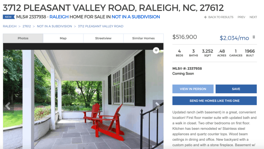 raleigh realty website screenshot