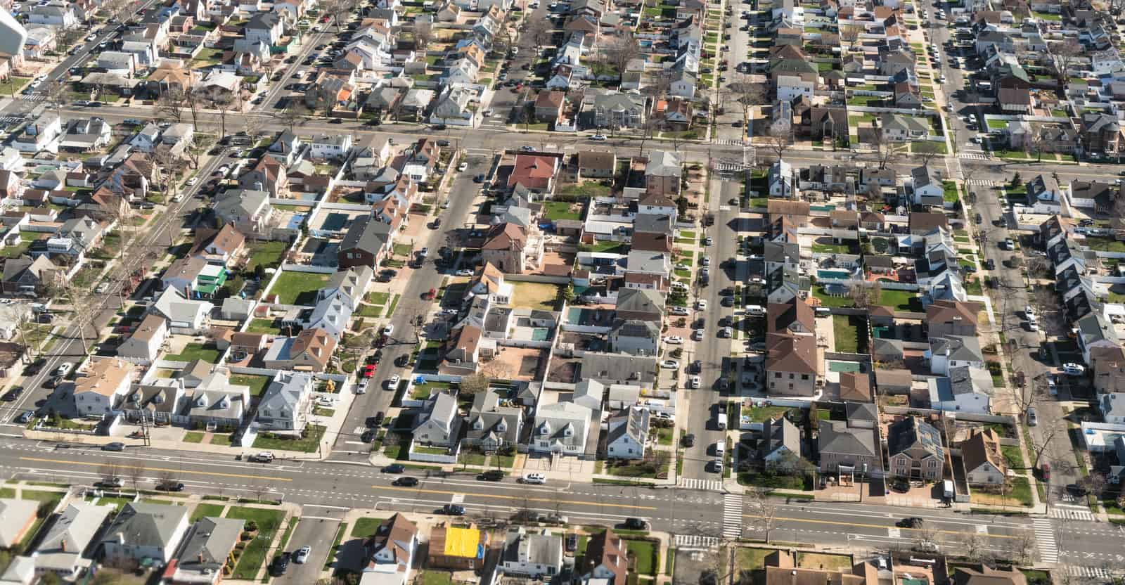 Aerial View of New York City suburbs
