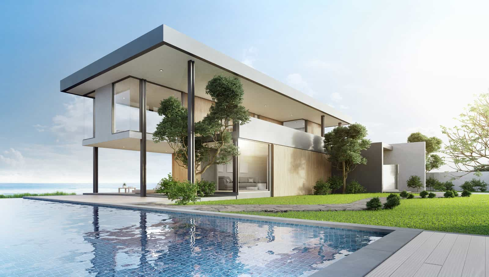 Luxury beach house with sea view swimming pool and terrace in modern design. Empty wooden floor deck at vacation home.
